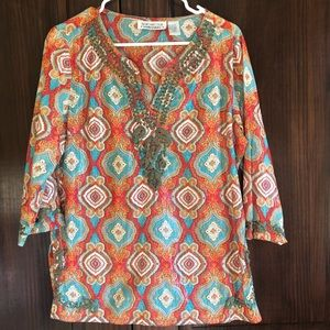 Embroidered New Direction M paisley top